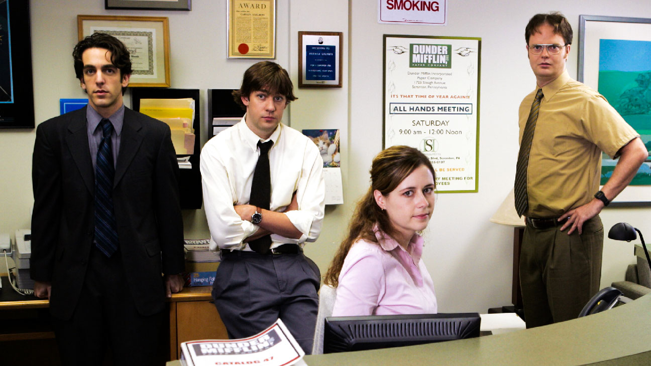 The Office: An American Workplace (NBC) season 1Spring 2005Shown: B.J. Novak (as Ryan Howard), John Krasinski (as Jim Halpert), Jenna Fischer (as Pam Beesley), Rainn Wilson (as Dwight Schrute), Steve Carell (as Michael Scott)