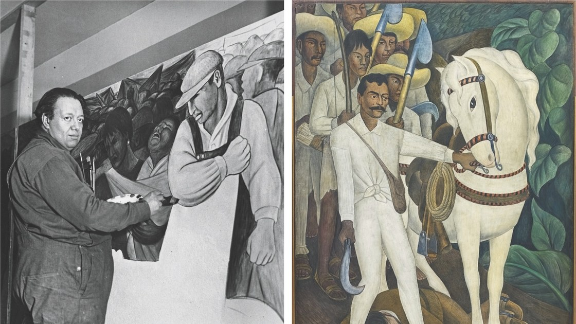 RR Diego Rivera at work on The Uprising and Agrarian Leader Zapata