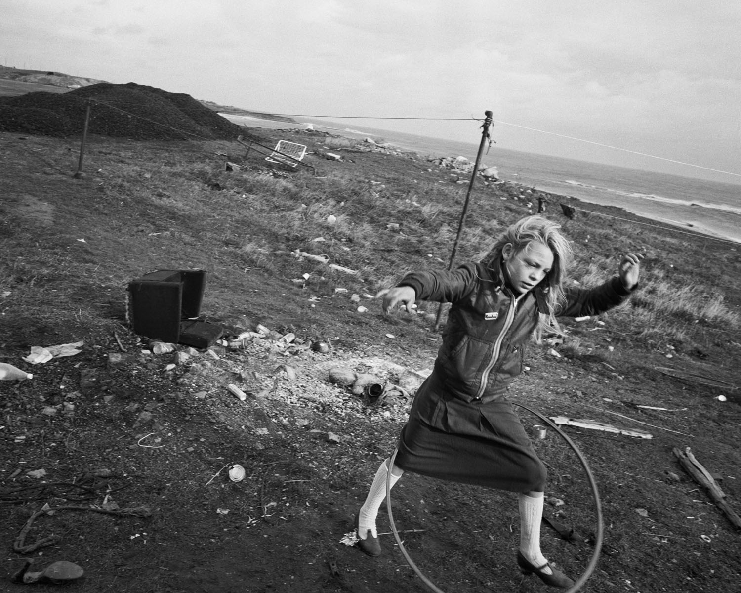 Helen and her hula hoop Lynemouth Northumberland 1984